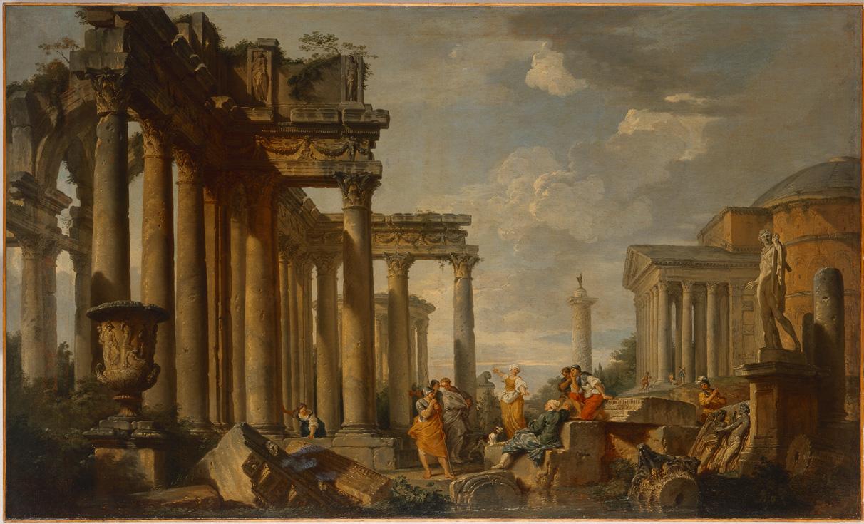 Giovanni Paolo Panini,Preek van een sibille op Romeinse ruïnes met de Apollo van Belvédère, 1740–50 © State Hermitage Museum, St Petersburg